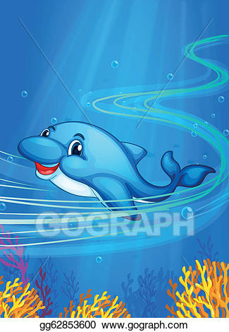 Vector illustration dolphin eps. Dolphins clipart underwater