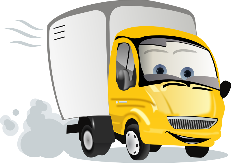 Firetruck clipart cartoon. Animated delivery truck