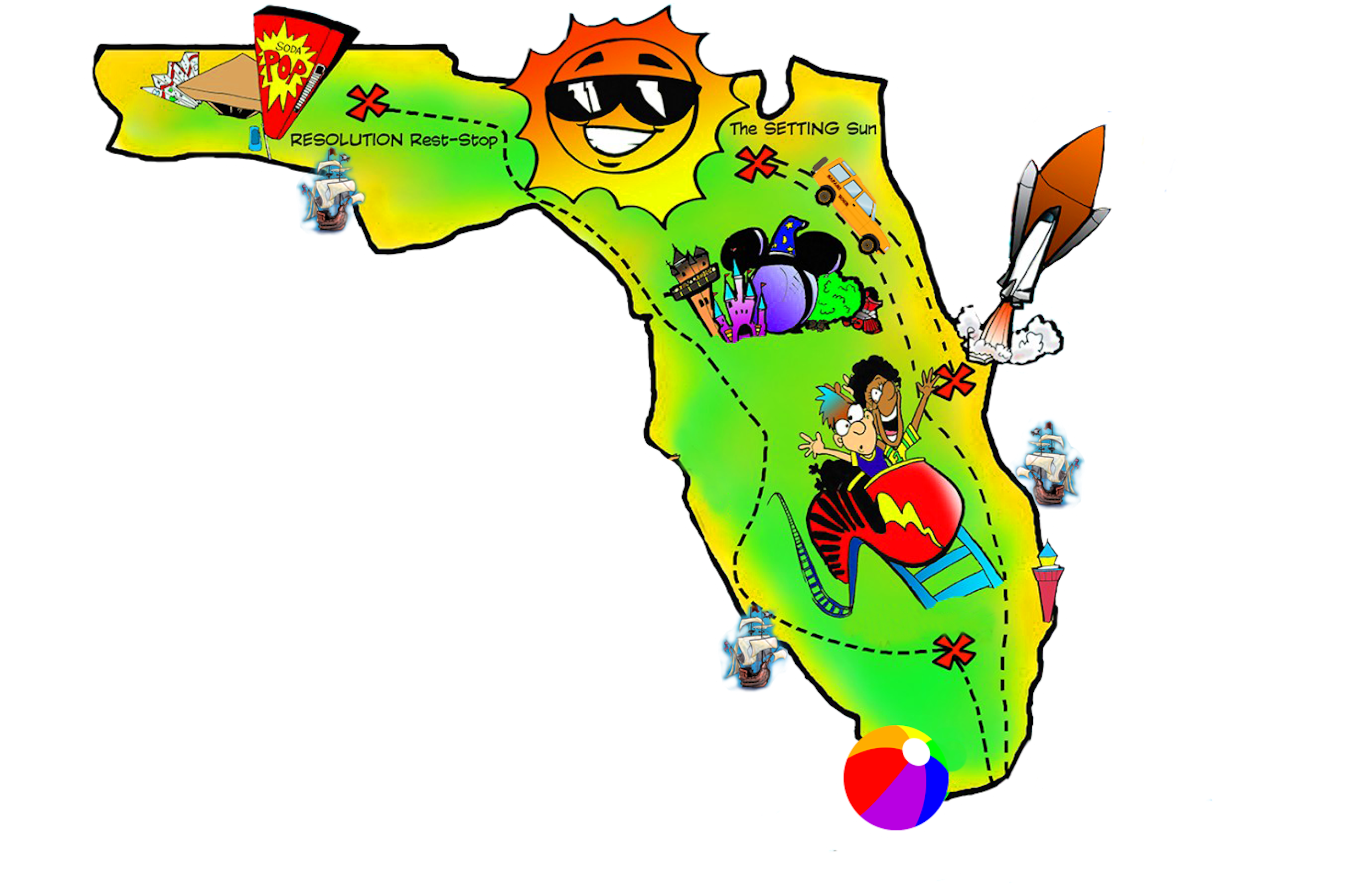 Florida clipart vacation mexican. Map free by preptoon