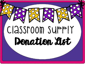 Donation clipart classroom. Supply list by the