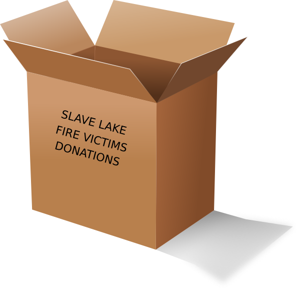 Slave lake fire victims. Donation clipart donation box