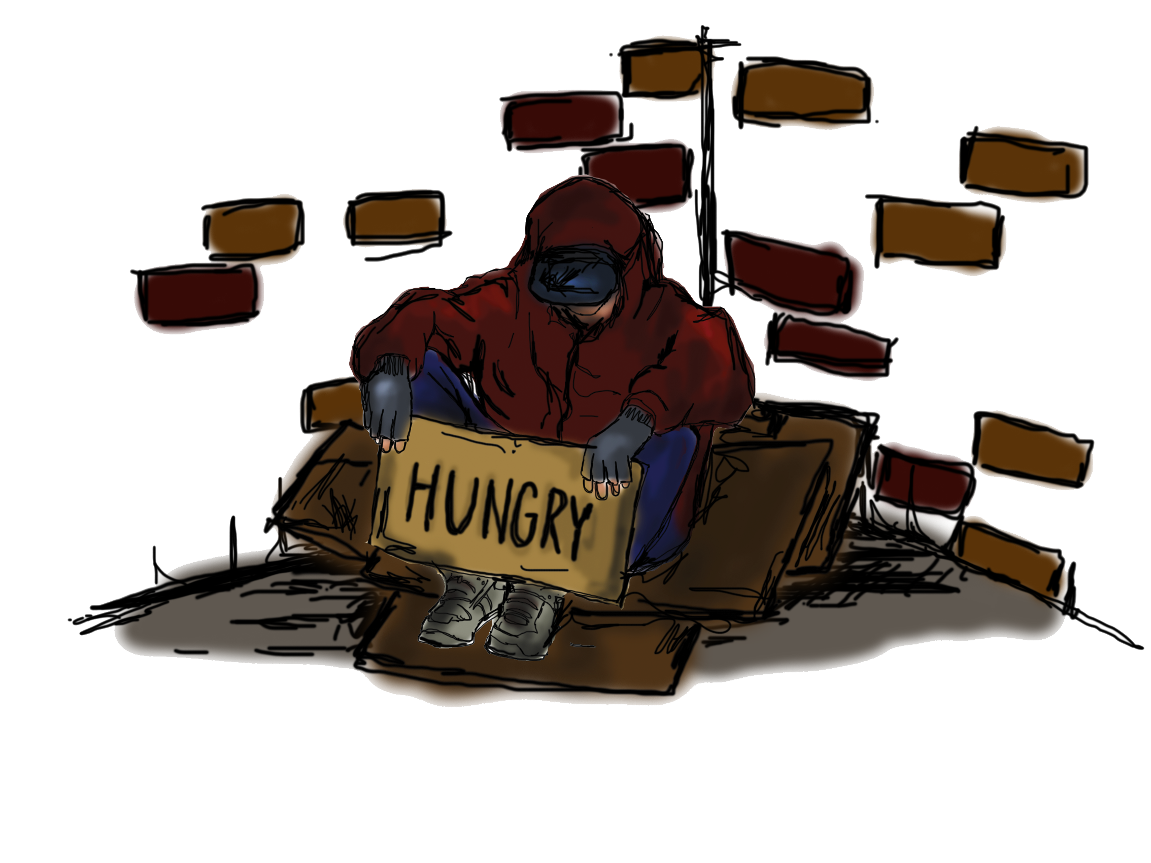 Abandoned homeless sign free. Poverty clipart hardship