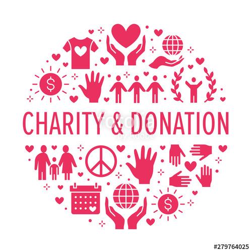 Donation clipart ngo. Charity vector circle banner
