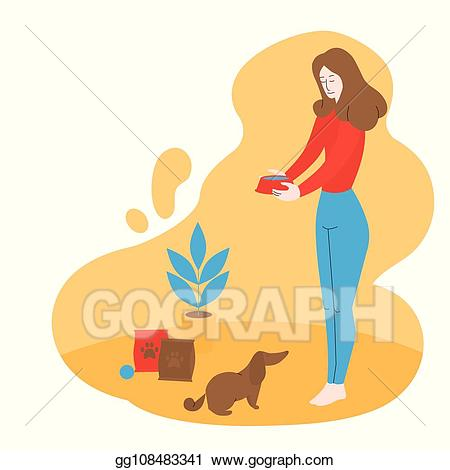 Vector stock girl is. Donation clipart shelter dog