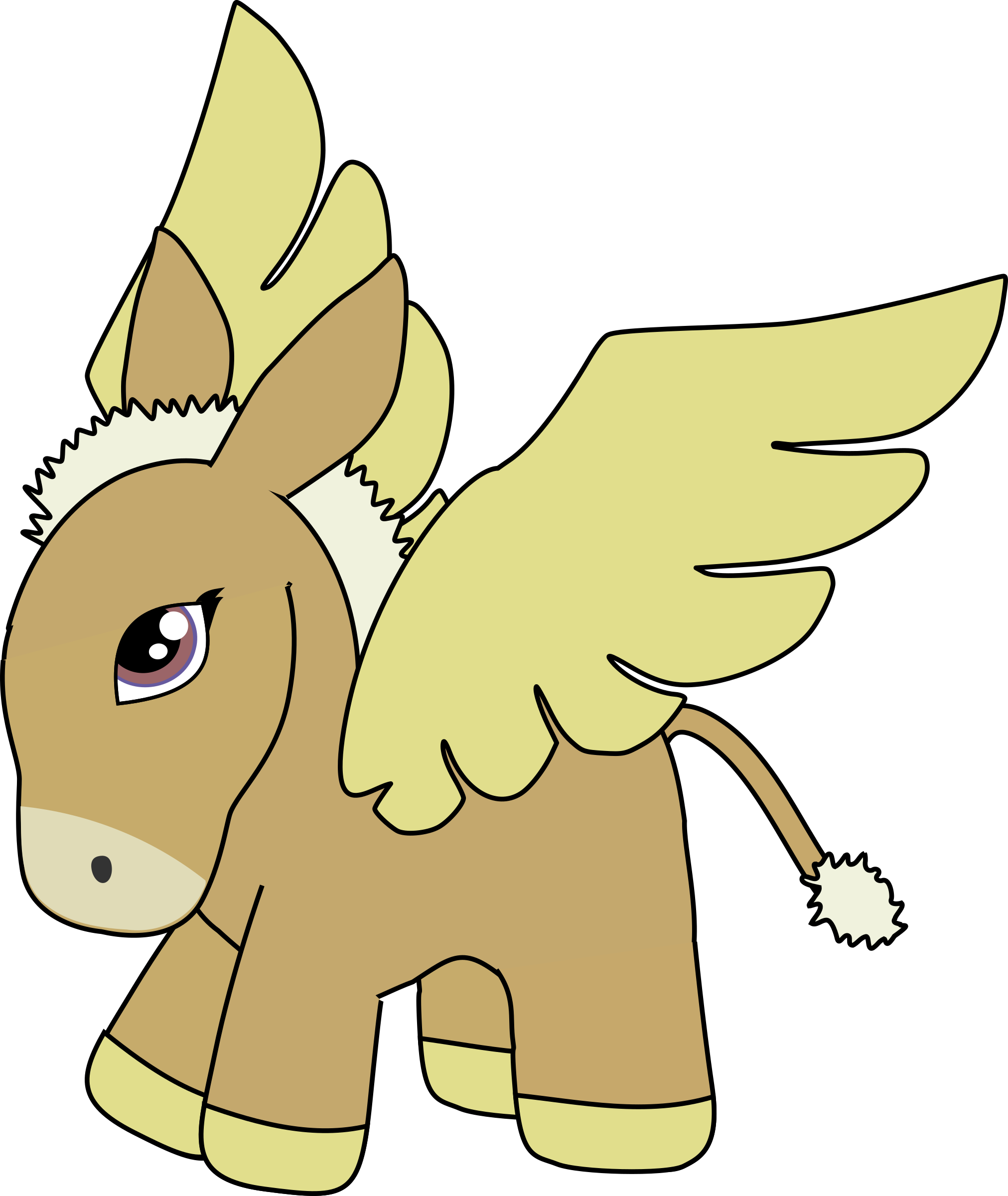 Brown and gold pegasus. Head clipart donkey