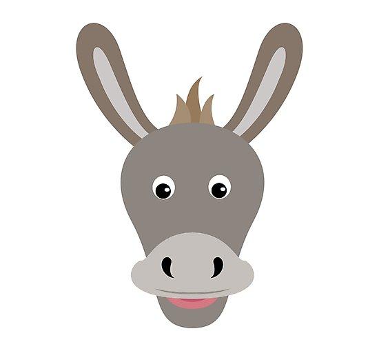 Donkey clipart donkey face.  happy cartoon character