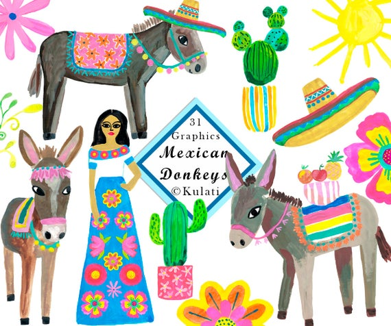 Donkey clipart donkey mexican. Instant download cute graphics