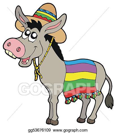 Donkey clipart donkey mexican. Stock illustration with sombrero