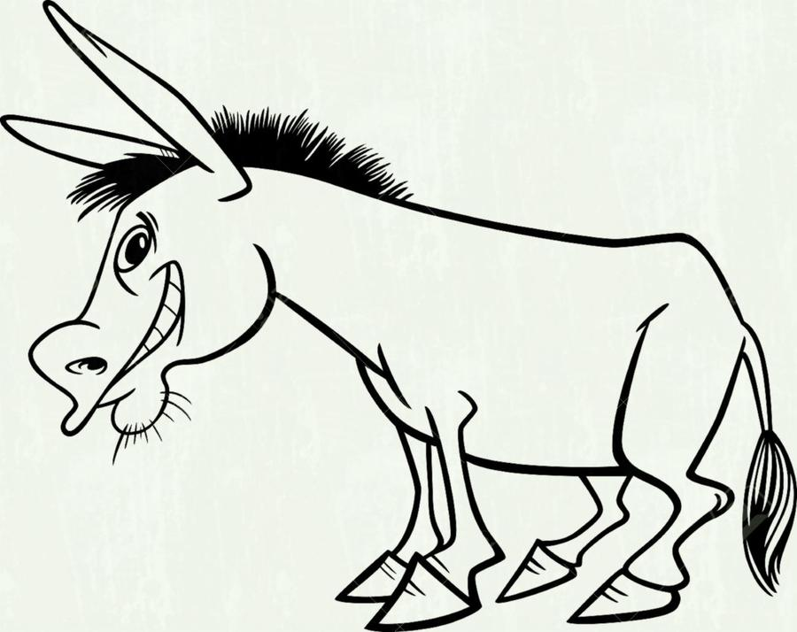 Download cartoon drawing of. Donkey clipart line