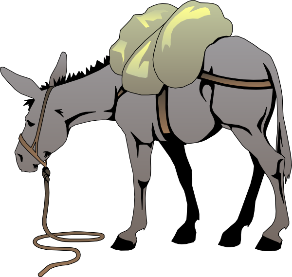 Donkey clipart silhouette. With a load clip