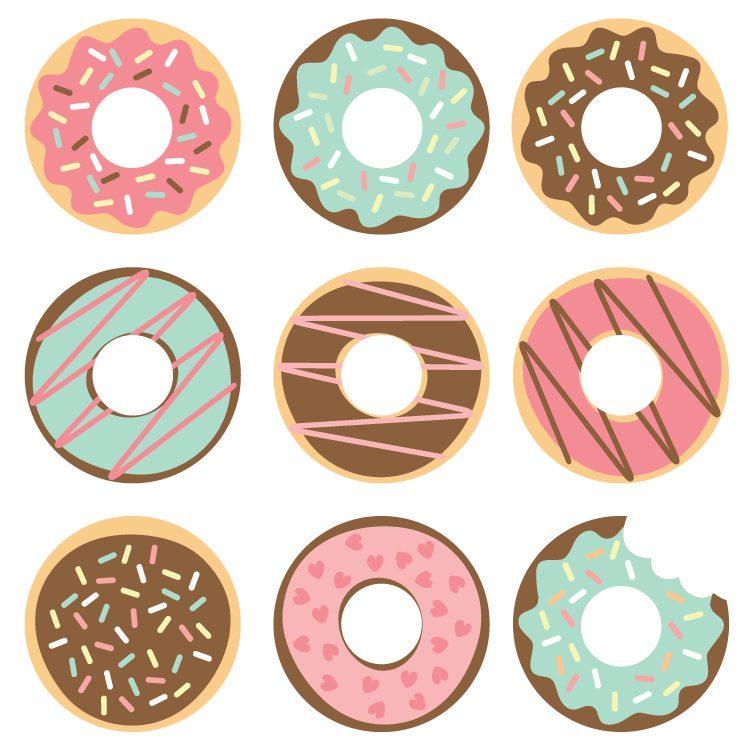Donut clipart. Cut files clip art