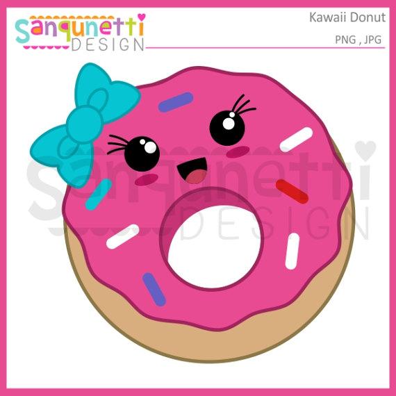 Kawaii doughnut commercial use. Donut clipart