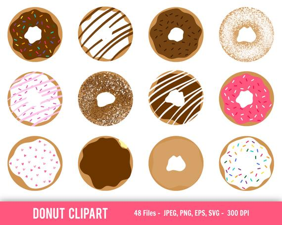 Donut clipart baked goods. Doughnut cute shapes instant