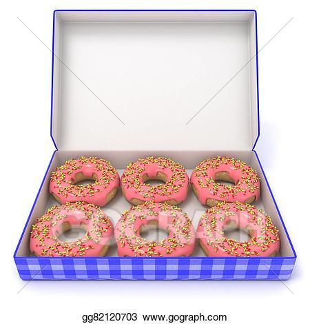 Donut clipart box doughnut. Stock illustration six pink