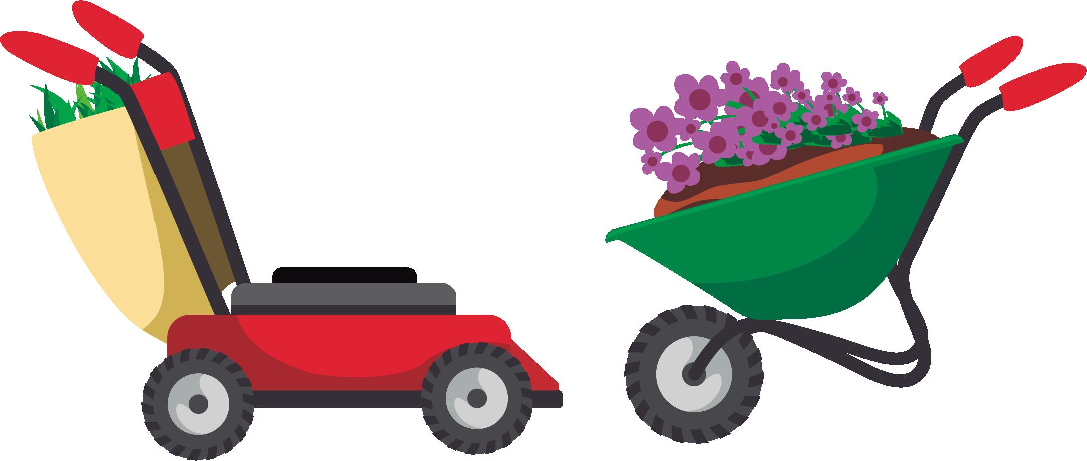 Gardening garden tool cartoon. Donut clipart cart