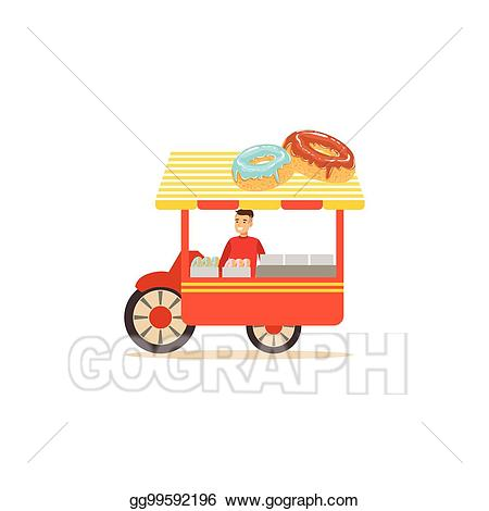 Vector stock flat street. Donut clipart cart