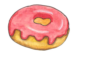 Free water color for. Donut clipart colorful
