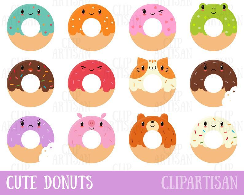 Kawaii donuts doughnuts clip. Donut clipart cute