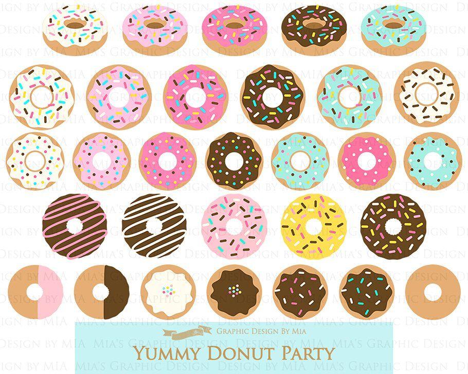 Yummy pattern set transparent. Donut clipart design