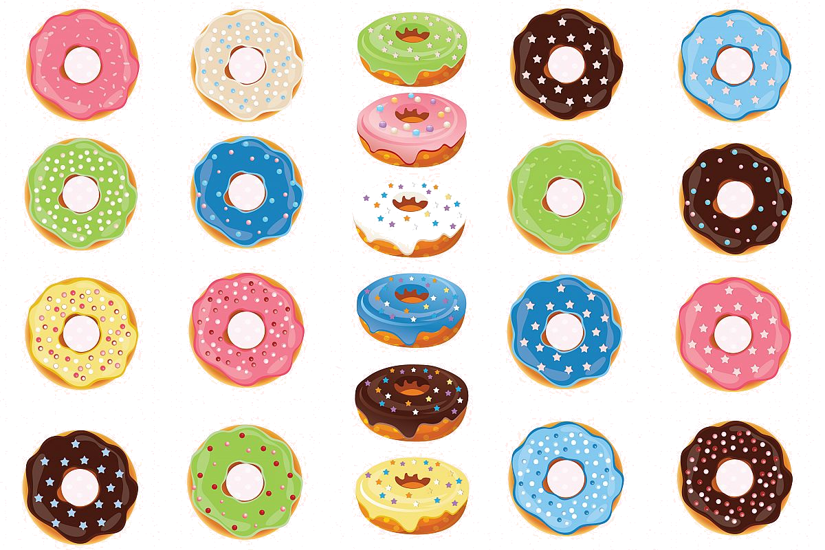 Donut clipart dozen. Donuts graphics example image