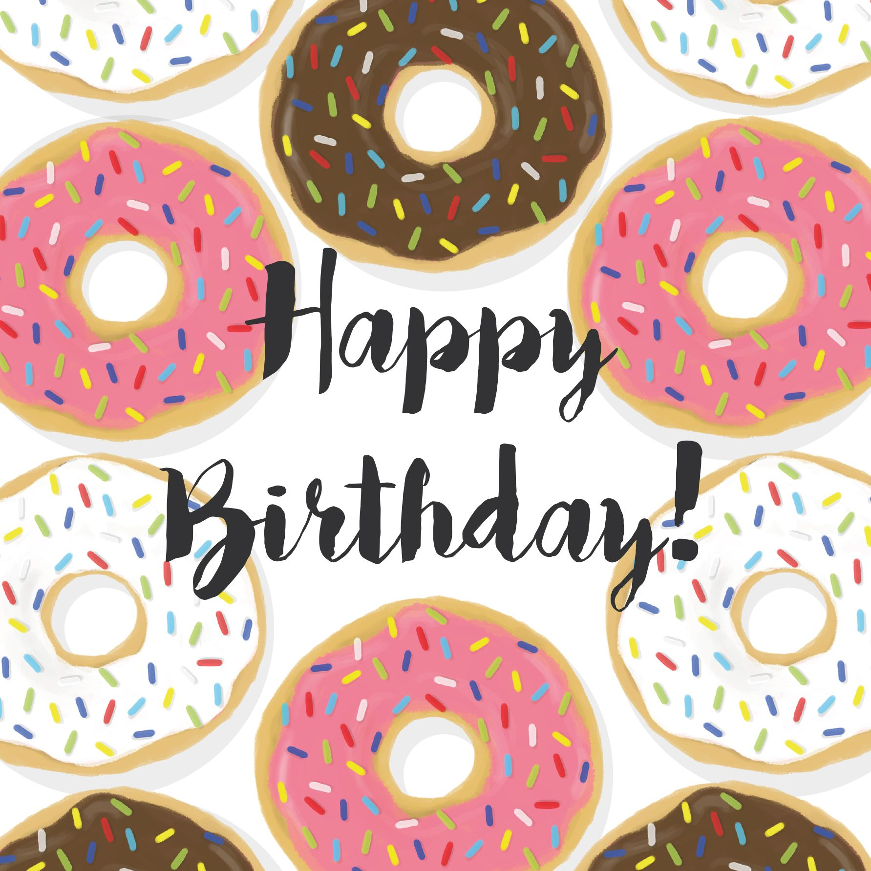 Donut clipart happy birthday. Mmm doughnuts card illustration