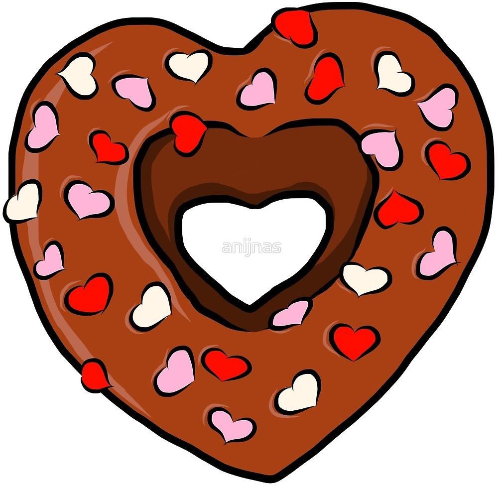 Chocolate love sprinkles valentine. Donut clipart heart