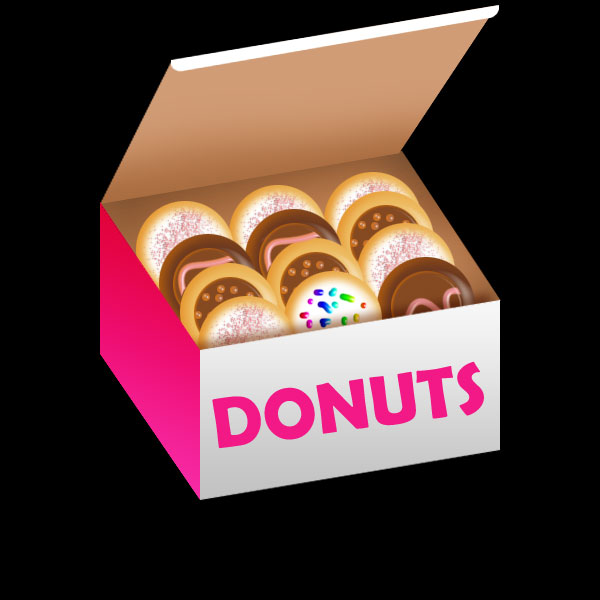 Donut clipart in box. Free cartoon cliparts download