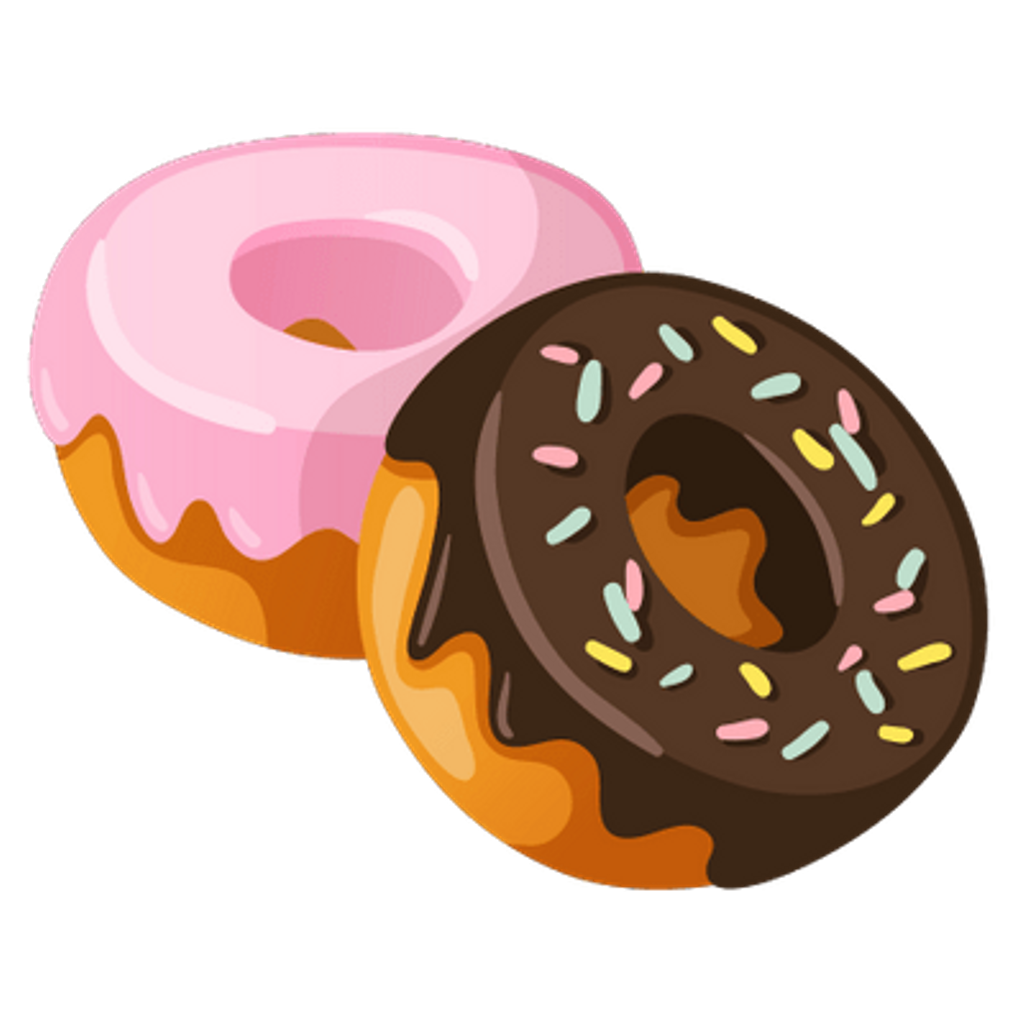 Rosquinha donut food sticker. Doughnut clipart kawaii