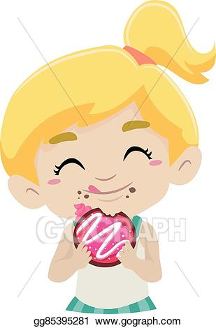 Doughnut clipart kid. Vector stock eating illustration