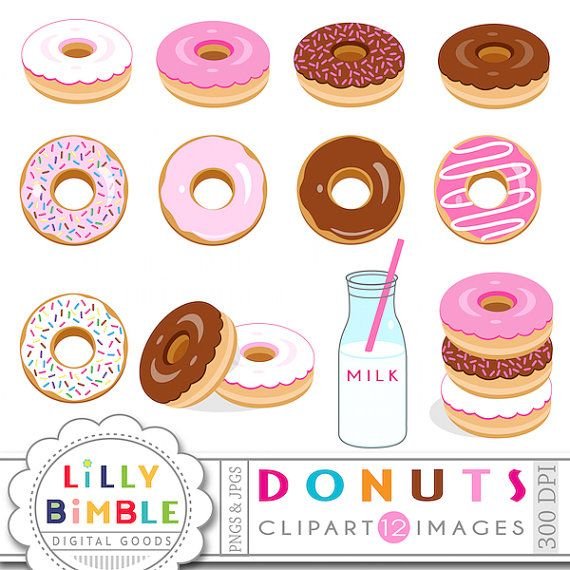 For invitation cards and. Donuts clipart milk
