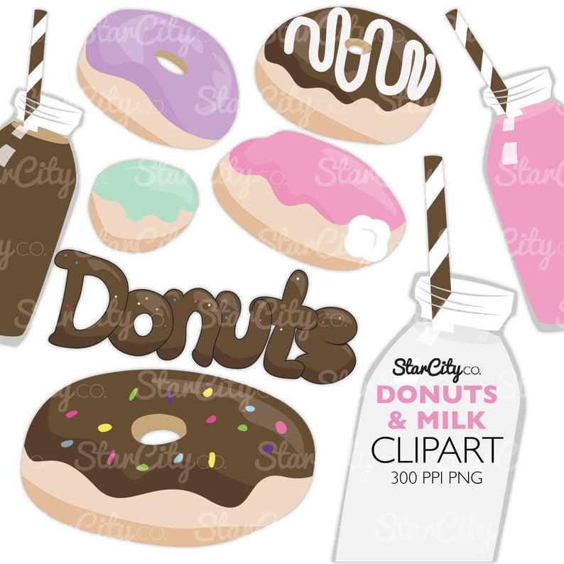 Doughnut clipart cream filled donut. Donuts and milk art