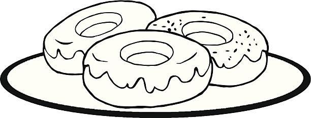 Donut black and white. Doughnut clipart outline