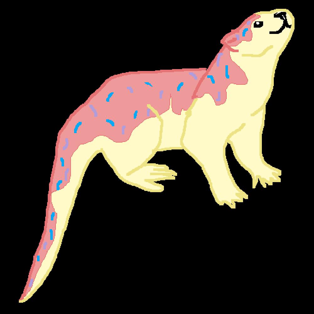Pixilart donut otter by. Doughnut clipart pastel