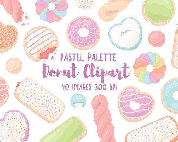 Donut doughnut pastry illustration. Donuts clipart pastel