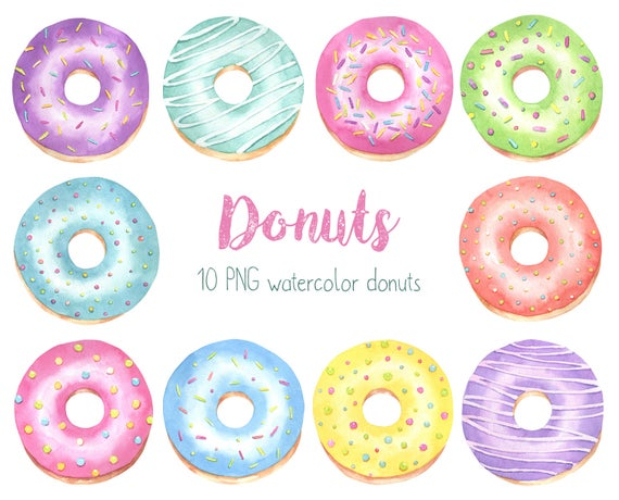 Donuts clipart pastel. Donut watercolor bakery sweets