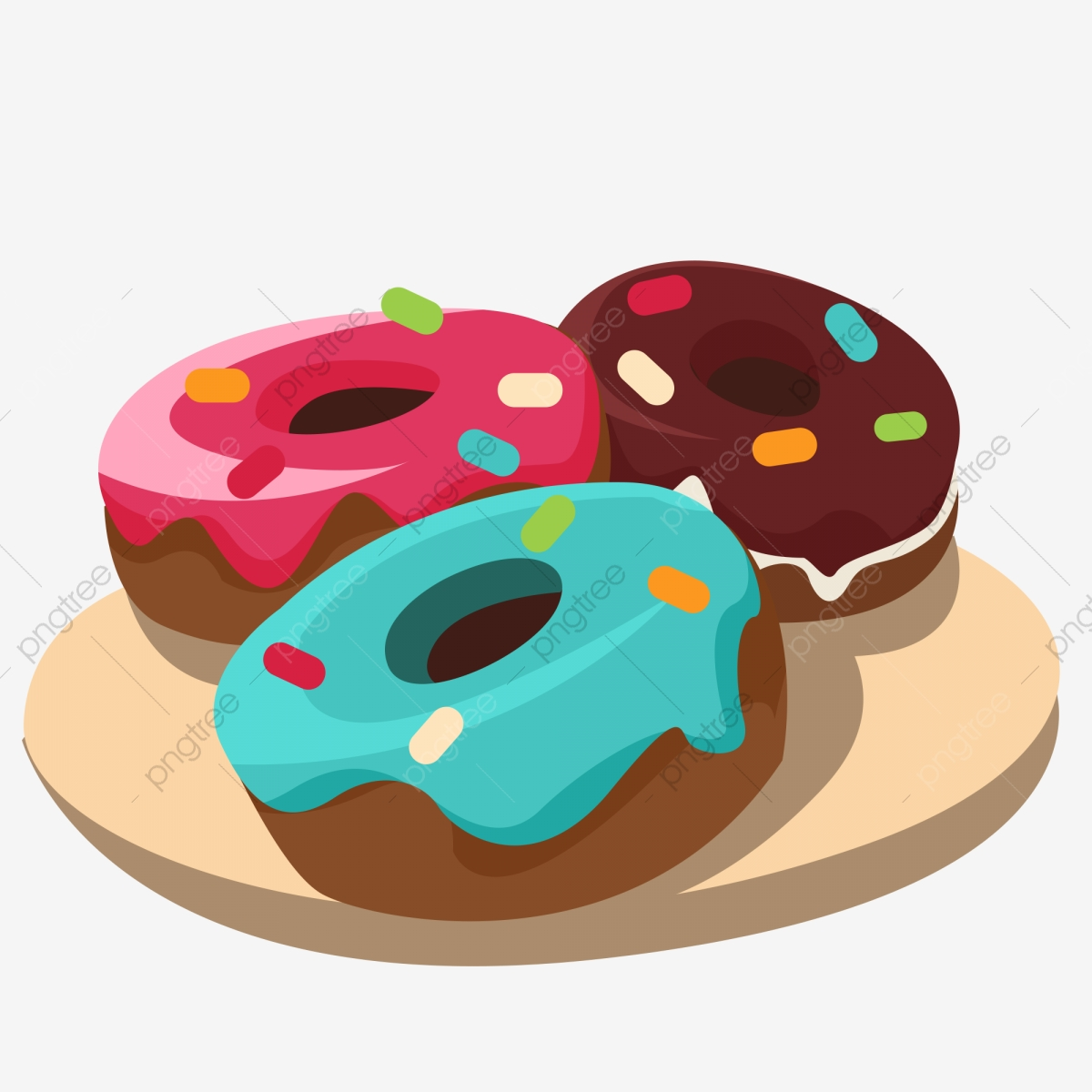 Donut clipart plate donut. Red blue chocolate a