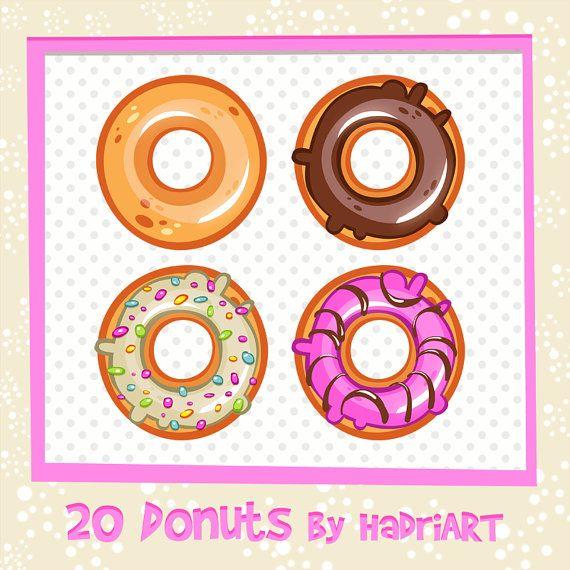 Donuts clipart printable. Donut clip art etsy