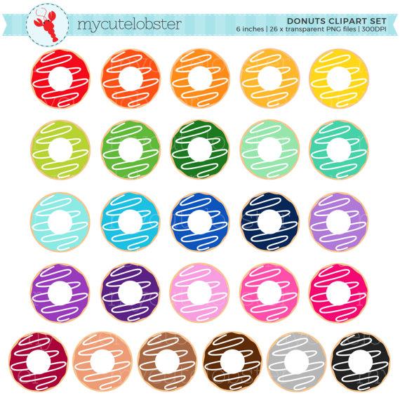 Donut clipart rainbow. Donuts set clip art