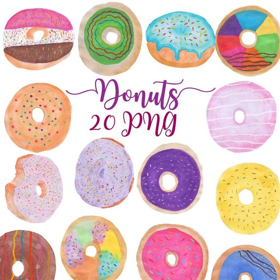 Donut clipart rainbow. Watercolor donuts doughnuts clip