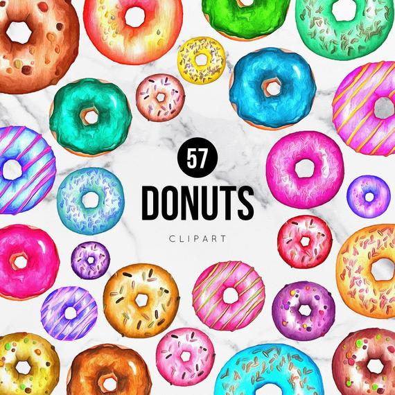 handpainted donuts sprinkles. Donut clipart rainbow