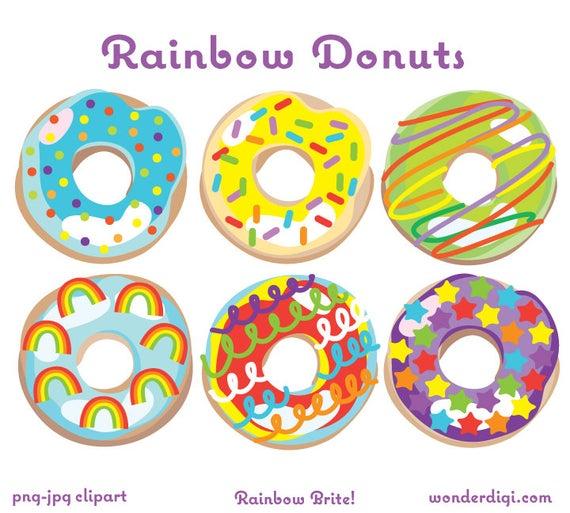 Donut clipart rainbow. Donuts clip art illustration