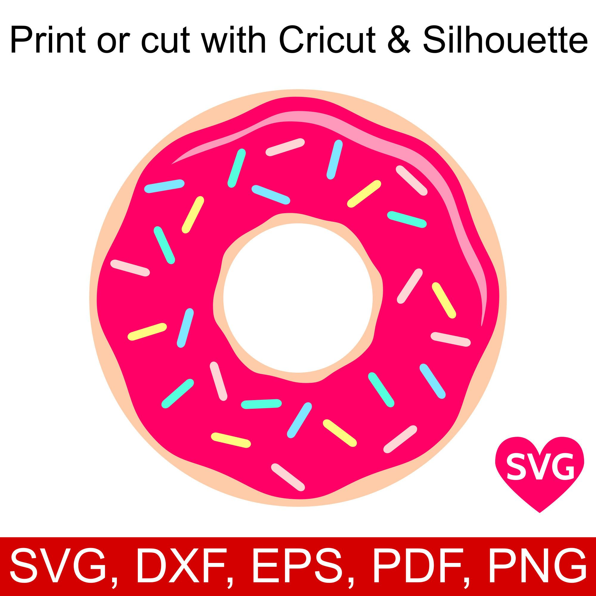 Donut clipart silhouette. Svg with sugar sprinkles