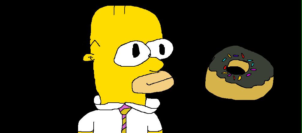 Homer simpson with a. Doughnut clipart drawn
