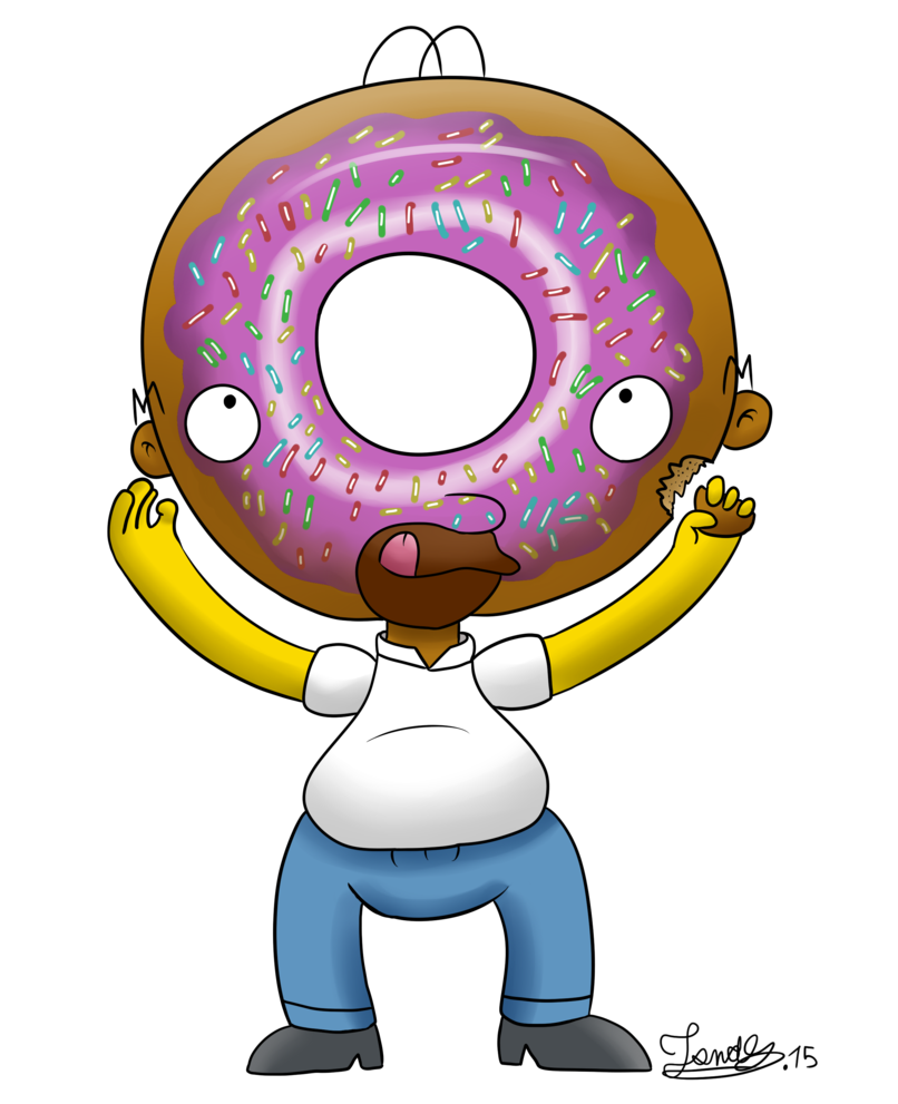 Donut clipart simpsons donut. Homer donuts head by