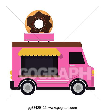 Vector food delivery design. Donut clipart truck