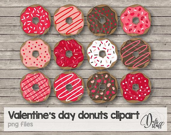 Donut clipart valentines. Valentine s day donuts