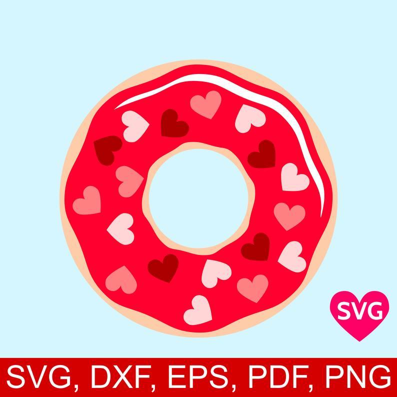 Valentine s day svg. Donut clipart valentines