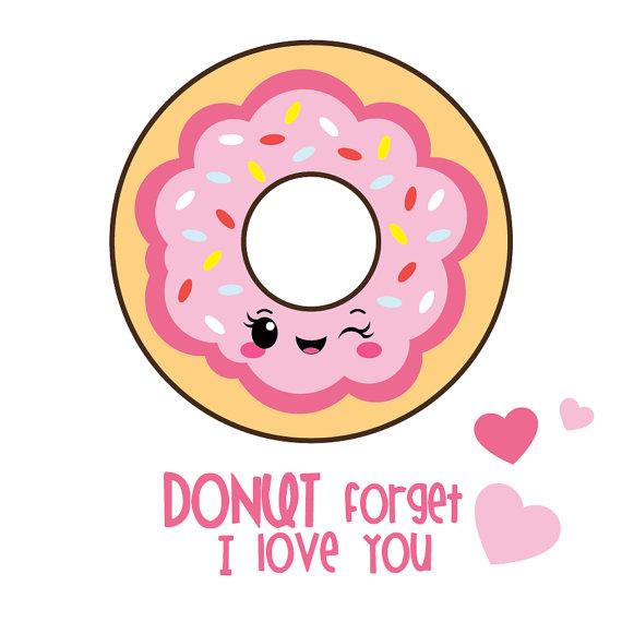 Donut clipart valentines. Valentine kawaii
