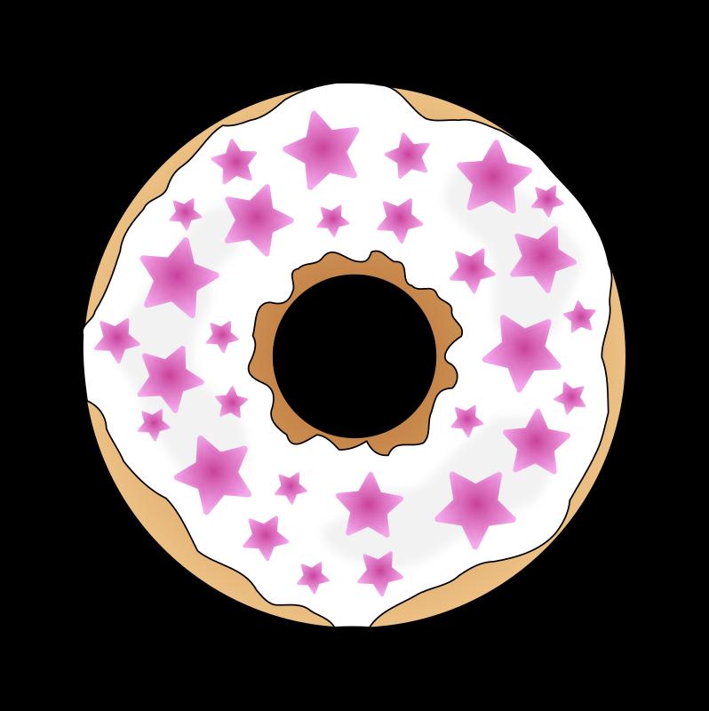 Pink stars medium image. Donut clipart vanilla donut