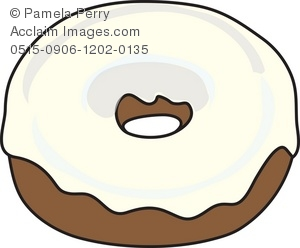 Donut clipart vanilla donut. Clip art illustration of